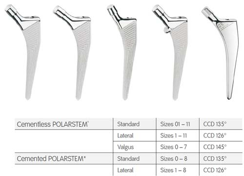 POLARSTEM sizing and stem options