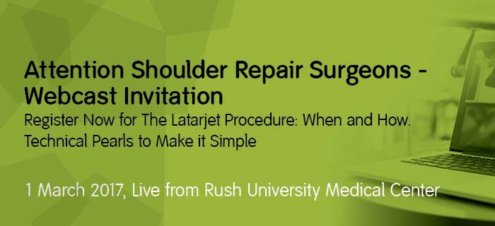Shoulder repair live video event Wednesday, March 1st