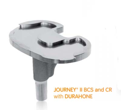 JOURNEY II CR and BCS tibial baseplate with DURAHONE advanced finishing